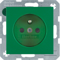 6768760063 Socket outlet with earthing pin with enhanced touch protection,  Berker S.1/B.3/B.7, green matt
