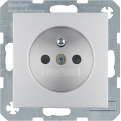 6768761404 Socket outlet with earthing pin with enhanced touch protection,  Berker S.1/B.3/B.7, aluminium,  matt,  lacquered