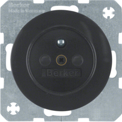 6768762045 Socket outlet with earthing pin with enhanced touch protection,  Berker R.1/R.3, black glossy