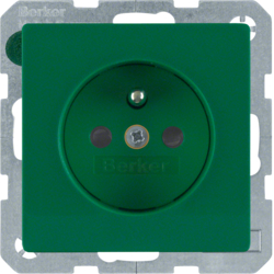 6768766013 Socket outlet with earthing pin with enhanced touch protection,  green velvety