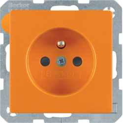 6768766014 Socket outlet with earthing pin with enhanced touch protection,  orange velvety