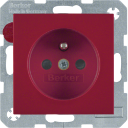 6768768962 Socket outlet with earthing pin with enhanced touch protection,  Berker S.1/B.3/B.7, red glossy