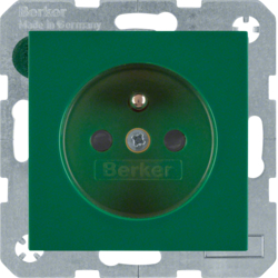 6768768963 Socket outlet with earthing pin with enhanced touch protection,  Berker S.1/B.3/B.7, green glossy