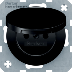 6768772045 Socket outlet with earthing pin and hinged cover with enhanced touch protection,  Berker R.1/R.3/R.8, black glossy