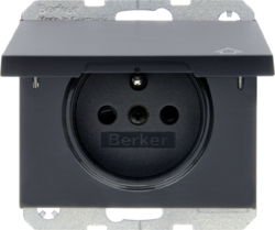 6768777106 Socket outlet with earthing pin and hinged cover with enhanced touch protection,  Berker K.1, anthracite matt,  lacquered