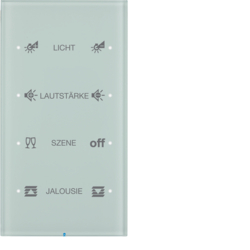 75144150 Touch sensor 4gang comfort with integral bus coupling unit,  KNX - Berker R.3 - configured,  glass polar white