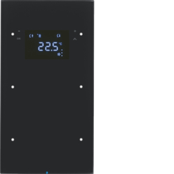 75642055 Touch sensor 2gang with thermostat Display,  integrated bus coupling unit,  glass black