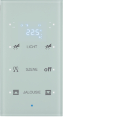 75643130 KNX Glass sensor 3gang with thermostat Display,  integrated bus coupling unit,  glass polar white