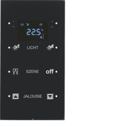 75643155 Touch sensor 3gang with thermostat Display,  integrated bus coupling unit,  glass black
