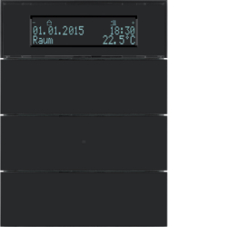 75663592 B.IQ push-button 3gang with thermostat Display,  KNX - Berker B.IQ,  glass black