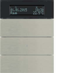 75663593 B.IQ push-button 3gang with thermostat Display,  KNX - Berker B.IQ,  Stainless steel,  metal brushed