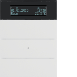 75663599 B.IQ push-button 3gang with thermostat Display,  KNX - Berker B.IQ,  polar white matt