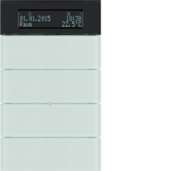 75664590 B.IQ push-button 4gang with thermostat Display,  KNX - Berker B.IQ,  glass polar white