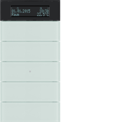 75665590 B.IQ push-button 5gang with thermostat Display,  KNX - Berker B.IQ,  glass polar white