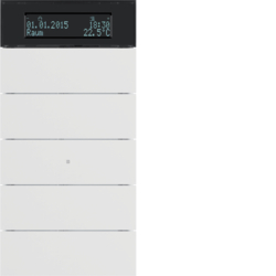 75665599 B.IQ push-button 5gang with thermostat Display,  KNX - Berker B.IQ,  polar white matt