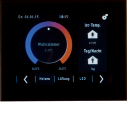 75740101 KNX Touch Control with TFT display with colour display,  with integral bus coupling unit,  KNX,  black glossy