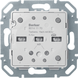 80141170 Push-button module 1gang with RGB LED,  with integrated temperature sensor,  with integral bus coupling unit,  KNX - Berker Q.x/K.x