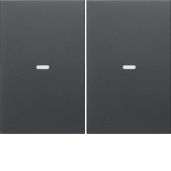 80960375 Cover for 2gang for push-button module with clear lens,  KNX - Berker K.1/K.5, anthracite,  matt