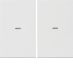80960379 Cover for 2gang for push-button module with clear lens,  KNX - Berker K.1/K.5, polar white glossy