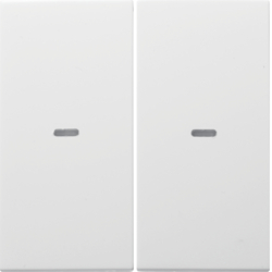 80960389 Cover for 2gang for push-button module with clear lenses,  KNX - Berker S.1/B.3/B.7, polar white glossy