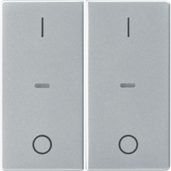 80962321 Cover for 2gang for push-button module with clear lenses,  KNX - Berker Q.1/Q.3, aluminium velvety,  lacquered