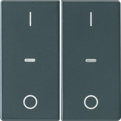 80962326 Cover for 2gang for push-button module with clear lenses,  KNX - Berker Q.1/Q.3, anthracite velvety,  lacquered