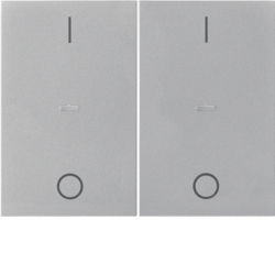 80962373 Cover for 2gang for push-button module with clear lenses,  KNX - Berker K.1/K.5, stainless steel matt,  lacquered