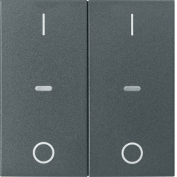 80962385 Cover for 2gang for push-button module with clear lenses,  KNX - Berker S.1/B.3/B.7, anthracite,  matt