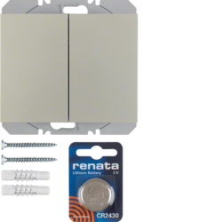 85656273 KNX radio wall-transmitter 2gang flat quicklink Berker K.5, stainless steel matt,  lacquered