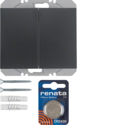 85656275 KNX radio wall-transmitter 2gang flat quicklink Berker K.1, anthracite matt,  lacquered