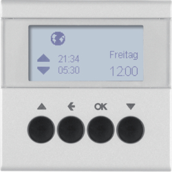 85741183 Blind time switch with display,  Berker S.1/B.3/B.7, aluminium,  matt,  lacquered