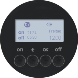 85745231 KNX radio timer quicklink with display,  Berker R.1/R.3/Serie 1930/R.classic,  black glossy