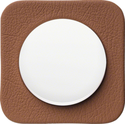 Embossed leather, brown /<br />Plastic, polar white glossy