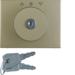 10790301 Centre plate with lock and push lock function for switch for blinds Key can be removed in 0 position,  Berker Arsys,  light bronze matt,  aluminium lacquered