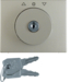 10790404 Centre plate with lock and push lock function for switch for blinds Key can be removed in 3 positions,  Berker Arsys,  stainless steel,  metal matt finish