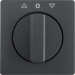 10806086 Centre plate with rotary knob for rotary switch for blinds Berker Q.1/Q.3, anthracite velvety,  lacquered