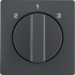10846086 Centre plate with rotary knob for 3-step switch Berker Q.1/Q.3, anthracite velvety,  lacquered