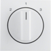 10848989 Centre plate with rotary knob for 3-step switch Berker S.1/B.3/B.7, polar white glossy
