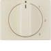 10870002 Centre plate with rotary knob for 3-step switch with neutral-position,  white glossy
