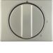 10870104 Centre plate with rotary knob for 3-step switch with neutral-position,  stainless steel,  metal matt finish