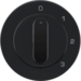 10962045 Centre plate with rotary knob for 3-step switch with neutral-position,  Berker R.1/R.3/R.8, black glossy