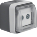 12033515 Aerial socket 2hole with hinged cover surface-mounted,  single socket Berker W.1, grey/light grey matt
