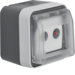 12033525 Aerial socket 2hole with hinged cover surface-mounted,  throughpass socket Berker W.1, grey/light grey matt