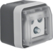 12033535 Aerial socket 3hole with hinged cover surface-mounted,  single socket Berker W.1, grey/light grey matt