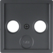12036086 Centre plate for aerial socket 2-/3hole Berker Q.1/Q.3, anthracite velvety,  lacquered