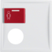12178989 Centre plate with plug-in opening,  red button at top polar white glossy
