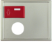 12179004 Centre plate with plug-in opening,  red button at top Berker Arsys,  stainless steel matt,  lacquered