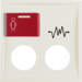 12188982 Centre plate with 2 plug-in openings,  imprint and red button at top white glossy