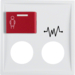 12188989 Centre plate with 2 plug-in openings,  imprint and red button at top polar white glossy