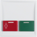 12499909 Centre plate with red + green button Berker S.1/B.3/B.7, polar white matt